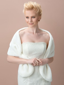 White Faux Fur Wedding Jacket