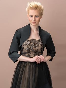 3/4 Sleeves Black Wedding Jacket