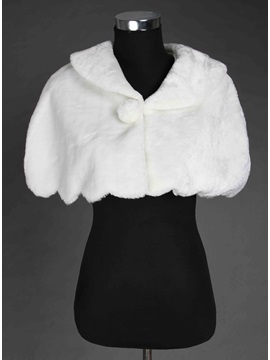 New Style Collar Scalloped-Edge Faux Fur Wedding Shawl