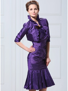 Glamorous 1/2 Sleeve Purple Wedding Bolero/Jacket