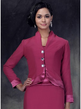 Handsome Long Sleeve Length Jacket with Diamond Buttons