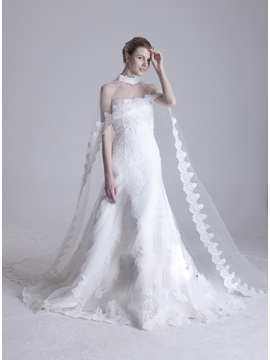 Glamorous Long Tailing Length Lace Wedding Jacket