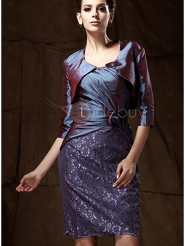 Remarkable 3/4-length Sleeve Deep Purple Taffeta Bolero Jacket