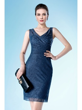 Classic Short/Mini-Length Column/Sheath Lace V-Neck Formal Dress
