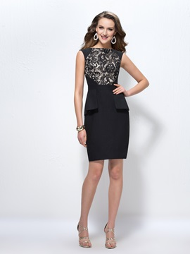 Sheath/Column Lace Bateau Neckline Short Zipper-up Formal Dress