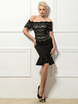 Sexy Off-the-Shoulder Short Sleeves Lace Sequins Knee-Length Cocktail Dress