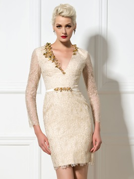 Luxury V-Neck Long Sleeves Sheath Sequined Short Lace Cocktail Dress