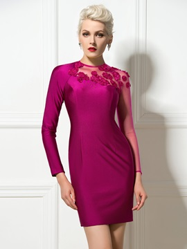 Stunning Jewel Neckline Flowers Sheath Short Cocktail Dress