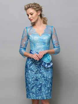 Ladylike V-Neck 3/4 Sleeves Sequins Flower Lace Column Formal Cocktail Dress