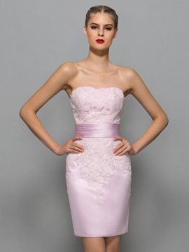 Glamorous Strapless Appliques Sheath Office Dress With Jacket/Shawl