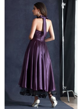 A-Line Tea-Length Halter Beading Evening Dress