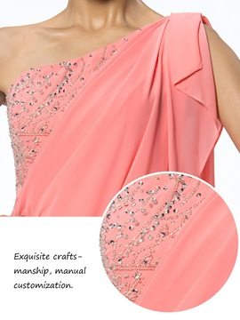 Modern Short/Mini One-Shoulder Sheath/Column Beading Party Dress