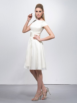 Bateau Neck A-Line Knee-Length Party Dress