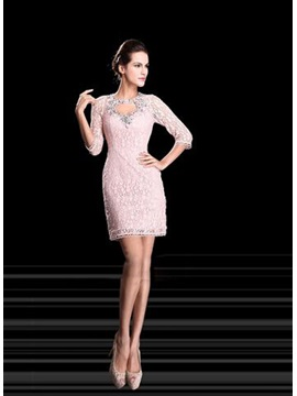 Graceful Sheath Lace Crystal Half Sleeves Short-Length Formal Dress