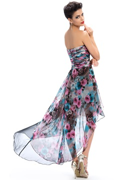 Delicate Sweetheart Floral Printing Asymmetry Zipper-Up Homecoming Dress