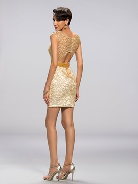 Luxurious Scoop Neckline Beaded Column Short Cocktail Dress