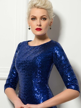 Sparking Half Sleeves Sequins Short Length Sheath Cocktail Dress