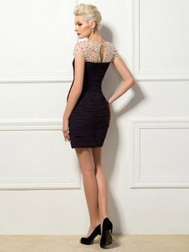 Elegant Sheath Short Sleeves Ruched Short Cocktail/Formal Dress