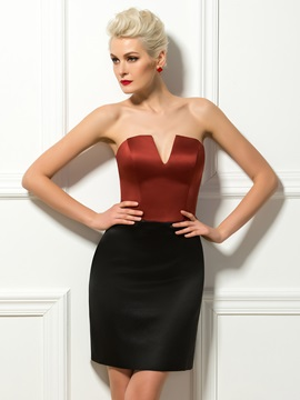 Simple Sheath Strapless Zipper-Up Short Cocktail/Formal Dress
