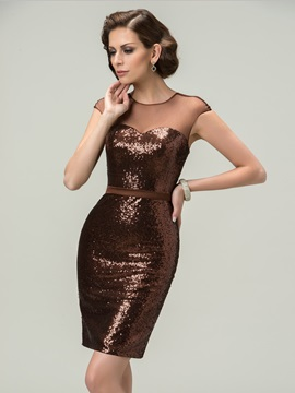 Modern Sheath Tulle Neck Sequins Short Party Dress Designed