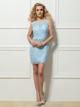 Dazzling Round Neck Sheath Lace Beading Short Cocktail Dress