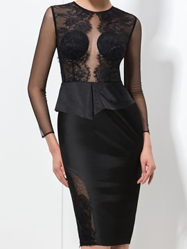 Sexy Column Jewel Neck Long Sleeve Knee-Length Black Lace Formal Dress