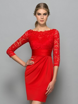 Classy 3/4 Length Sleeves Lace Red Cocktail Dress