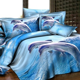 Amazing Fairylike Blue Dolphins 4 Piece Active Print Bedding Sets