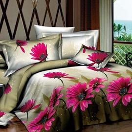 Classic Pink Flowers Printed Promise of Summer 4-Piece Cotton Bedding Sets