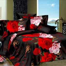 Vintage Black Rose Printed Plain 4-Piece Duvet Cover Set