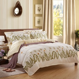 Modern Pastoral Style Dandelion and Leaves Print 100% Cotton 4 Piece Bedding Sets