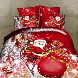 Happy Father Christmas with Christmas Gift 4 Pieces Cotton Duvet Cover Sets