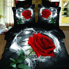 Single Red Rose Printed Cotton 3D 4-Piece Duvet Cover Set