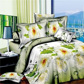Tidebuy Blooming White Peony Printed 3D 4-Piece Duvet Cover Set