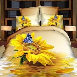 Tidebuy Blooming Sunflower and Butterfly Printed Cotton 3D 4-Piece Duvet Cover Set