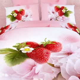 Strawberry Ink Printing 4-Piece Bedding Sets