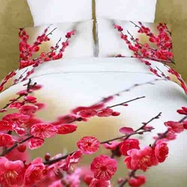 Splendid Plum Blossom and Bud Cotton 4 Piece Comforter Bedding Sets