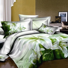 Fresh Perfume Lily Printed 4-Piece 100% Cotton Bedding Set