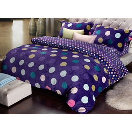 Glamorous Purple Warm Thick Coral Fleece 4 Pieces Comforter Bedding Sets