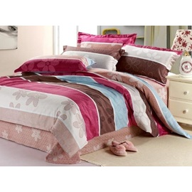 Superior Quality Colorful Striped Thicken Brushed 4 Piece Bedding Comforters Sets