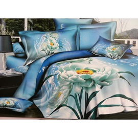 Fresh Blue 4 Piece Cotton Bedding Sets with Undefiled Lotus