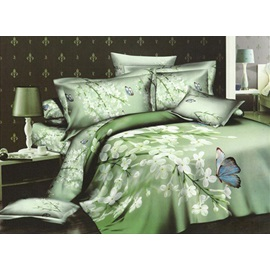 Cosy White Floral and Colourful Butterflies 4 Piece Cotton Bedding sets