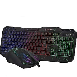 Wired Cracking Lights USB Gaming Mouse and Keyboard 2 Pieces/Set
