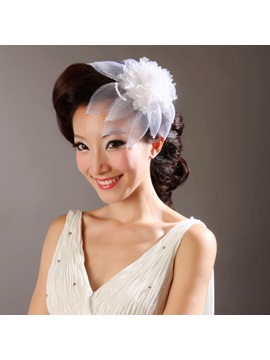 Faddish White Net/Feather Drill Wedding Bridal Hats