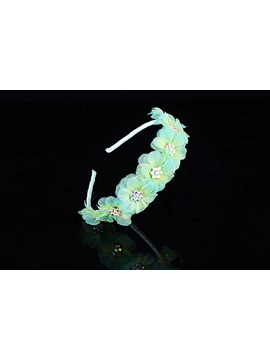 Flower Alloy with Rhinestone Green Headband