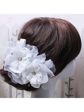 Rhinestone Beadings Organza Wedding Hair Flowers