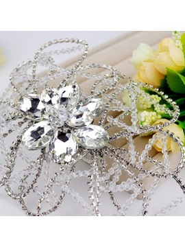 White Crystal Hair Flower