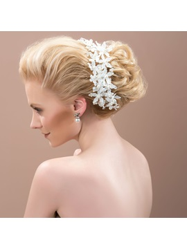 Fancy Pearls Lace Flowers Wedding Hair Flower