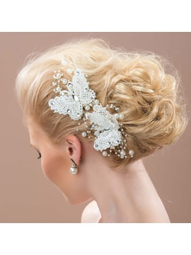 Beaded White Butterfly Lace Bridal Hair Flower (6 pcs one set)