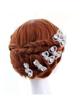 White Bowknot Crystal Hairpins